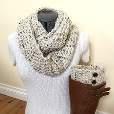 Snowy Owl Infinity Scarf and Boot Cuff Set with Brown Buttons * Continue to the product at the image link. (Amazon affiliate link)