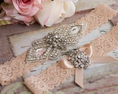 Blush Lace Garter Set, Wedding Garter Set, Bridal garter Set, Rhinestone Garter, Lace Wedding Garter by GarterQueen on Etsy