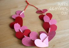 Valentine Heart Leis - A simple kids' craft for Valentine's Day that can be work to school!
