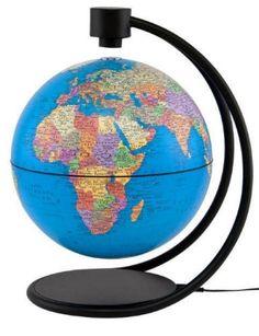 "Levitating 8"" Blue Ocean World Globe (Free Shipping)"
