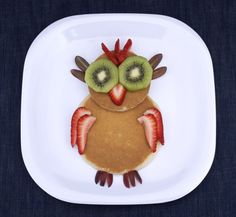 A fruit and pancakes owl is a hoot. | 18 Ways To Make Pancake Day Fun For Your Kids