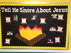 May 2014 Summer bulletin board s'mores. Check out my other boards I've made. Christian Bulletin Boards, Summer Bulletin Boards, Preschool Bulletin Boards, Classroom Bulletin Boards, Sunday School Rooms, Sunday School Classroom, Sunday School Crafts, School Fun, School Ideas