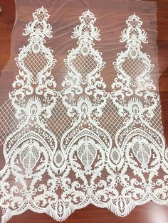 Items similar to 1 Yard Haute couture lace fabric ,luxury thick embroidery lace fabric for wedding gown prom dress bridal accessories on Etsy Floral Retro, Floral Lace, Border Embroidery Designs, Floral Embroidery, Couture Embroidery, Embroidery Motifs, Embroidery Dress, Bridal Lace Fabric, Sequin Fabric
