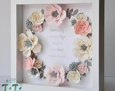 Pastel fieltro caja marco de flores, arte Floral de la pared, marco de caja, regalo de boda de memoria, regalo personalizado del día de madre, marco presupuesto a la medida del cuadro