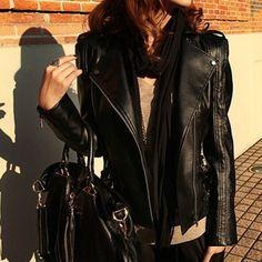 Lapel PU Leather Slim Jacket Coat,Wendybox Faux Leather Jackets, Pu Leather, Biker, Slim, Clothes For Women, Coat, Skirts, Black, Dresses