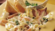 Quick-cooking refrigerated pasta helps get creamy fettuccine on your dinner table super fast.