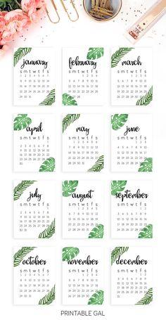 2017 Calendar Printable : Start the new year off right with this tropical, minimalist 2017 printable calendar! (Diy Birthday Calendar)