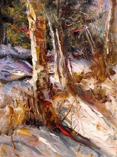 """""""High Country Birches"""" by Scott Mattlin Oil ~ 12"""" x 9""""  An artist with compassionate feeling for the beauty of the natural world."""