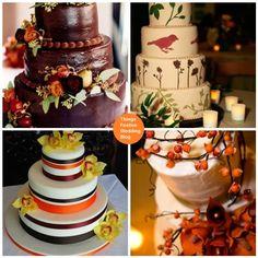 fall wedding cakes, cake idea, fall inspir, fall cakes, fall weddings, birds