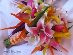 Tropical Wedding Bridal Bouquet - Lily, Birds of Paradise, Tulip, Calla - Real Touch Flowers on Etsy, $125.00
