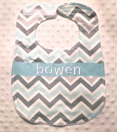 Personalized Bib  Baby Boy Light Blue and Gray by lunaandbean, $11.00/ not great for drooling but so cute!!