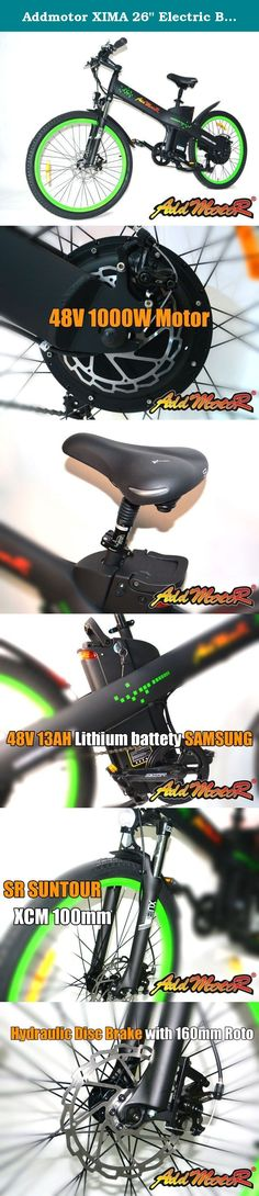 """Addmotor XIMA 26"""" Electric Bicycle Electric Bike Mountain Bike 1000W 48V 13AH Fork Suspension Mountain Bicycle 7 Speed Shimano Gears Brake Disk Aluminium-Alloy Tires E-Bike (Black/Green). Color: Orange/Mattle Black/Green/White Battery: 48V*13AH Samsung Lithium Batteries In A Sealed Removable Pack Motor: 48V*1000W Rear Hub Motor- Special Design For Electirc City Bike Rear Gears: Shimano 7 Speeds TX55 Gears Speed: Max 20 mph Distance: Electric Bicycle 38-48 Mile Range Charger: US Standard…"""