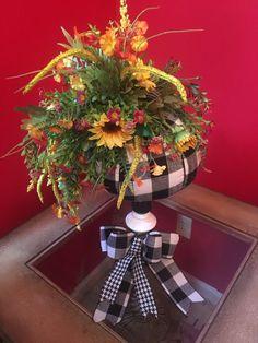 Excited to share this item from my #etsy shop: Buffalo Plaid Pumpkin Arrangement, Buffalo Check Pumpkin Centerpiece Black and White Pumpkin Arrangement, Floral Halloween Pumpkin, Fall #etsy #etsyfinds #fallarrangement #buffalocheck #plaid #pumpkin #sunflowers #sunflower #centerpiece #pumpkin #blackandwhite #candlestick #pumpkindecor #fall #halloweendecor #google #wildflowers #fallflowers #autumn #seasonal #holidaze #flannelpumpkin #decoratedpumpkin #fabricpumpkin #buffalo #check Halloween Floral Arrangements, Pumpkin Floral Arrangements, Fall Arrangements, Thanksgiving Decorations, Seasonal Decor, Halloween Decorations, Holiday Decor, Pumpkin Centerpieces, Floral Centerpieces