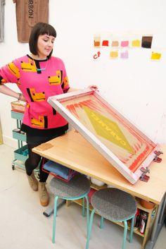 Nikki's Sweet and Cheery Print Studio Diy Screen Printing, Screen Printing Process, Screen Printing Machine, Printing Press, Creative Studio, Creative Art, Studio Organization, Art Plastique, Fabric Painting