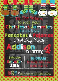 Printable Christmas Pancakes And Pajamas Birthday Party Invitation (Di - Forever Fab Boutique