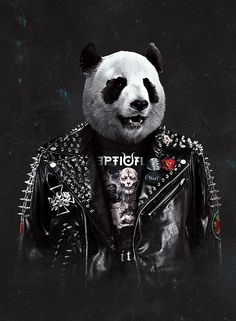 Metalhead panda by Lovelorn-Insanity on DeviantArt Panda Wallpaper Iphone, Cute Panda Wallpaper, Panda Wallpapers, Phone Wallpaper Images, Dj Panda, Cool Panda, Panda Art, Life Is Strange Wallpaper, Crane