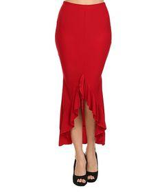 Red Ruffle Maxi Skirt