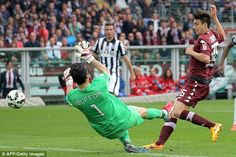 Matteo Darmian (right) scores past Juventus goalkeeper Gianluigi Buffon while playing for ...