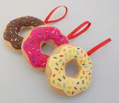 Vanilla, Strawberry, & Chocolate Donut Christmas Ornaments by DanielleLondon on Etsy - Set of 3 handmade beaded felt donuts