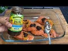 Honey Jerk Salmon || TERRI-ANN'S KITCHEN - YouTube Recipes With Fish And Shrimp, Baked Salmon Recipes, Shrimp Recipes, Jerk Salmon, Trini Food, Nom Nom, Seafood, Ann, Honey