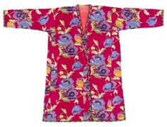 Uzbek Printed Cotton Robe. Uzbekistan, c.1960s-'70s. High quality printed cotton sateen with out-sized poppy pattern. Lined with hand-woven cotton. Hand-woven cotton trim. ...