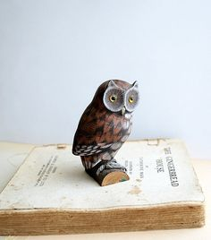 Vintage Owl Wooden Carved Figurine Pinned by www.myowlbarn.com