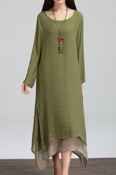 2017 Hisenky Fashion Cotton Linen Vintage Dress Summer Autumn Women Casual Loose Boho Dresses Vestidos Plus Size 5Colors - Army Green, L