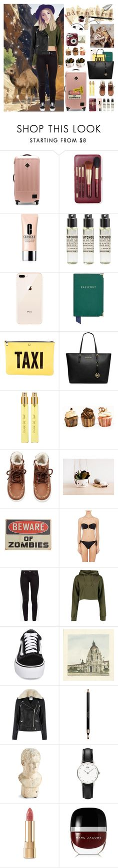 """""""airport hoodies style"""" by thymagine ❤ liked on Polyvore featuring Herschel Supply Co., Bobbi Brown Cosmetics, Clinique, Le Labo, Aspinal of London, Kate Spade, Michael Kors, Perris Monte Carlo, H&M and Eres"""