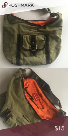 Union Bay army green canvas bag. Canvas and vegan leather Union Bay purse. Well loved but in great condition. Very little signs of use. Army green outside, orange on the inside with brown vegan leather accents. Unionbay Bags