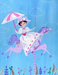 Mary Poppins art by Mary Blair