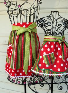 Christmas Mother Daughter Matching Half Apron Set by Aprons2tie4, $33.00 #castteam