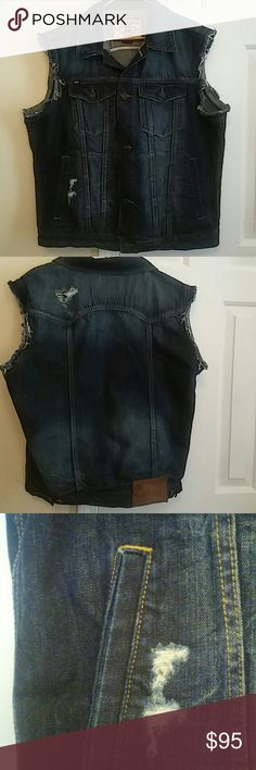 Men's Cult of Individuality Distressed Jean Vest Cult of  Distressed Dark Blue Jean Vest with Two Button Closures Breast Pockets, Two Side Pockets and Two Deep Inside Pockets.  reduced today $25.00 final markdown Cult of Individuality Jackets & Coats Vests