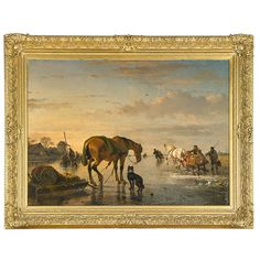 "Joseph Moerenhout (Belgian, 1801-1875) - Estimate: $7,000 - $9,000 Untitled Oil on canvas (framed) Signed 33 3/4"" x 46 1/2"" Provenance: Private Collection, New Jersey"