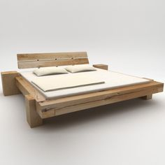 Beam beds wild oak 'Long night', with integrated side tables Solid Wood Furniture, Diy Furniture, Bedroom Furniture, Furniture Design, Outdoor Furniture, Outdoor Decor, Diy Bett, Pallet Beds, Wood Beds