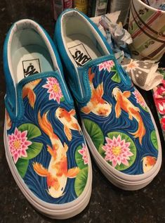 shoe art Koi Fish and Water Lily Handpainted Canvas Shoes (Vans Slip-On) Source by shoetrendaewo Shoes Custom Vans Shoes, Custom Painted Shoes, Painted Vans, Painted Canvas Shoes, Painted Sneakers, Painted Clothes, Hand Painted Shoes, Vans Shoes Fashion, Sharpie Shoes