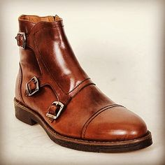 Paul Parkman mens triple monkstrap captoe brown leather boots Coming soon for new season fall/winter 2013-2014