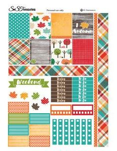 Fall Planner Freebie ~ snstreasures tartan pattern, trees and leaves, trackers, to do lists Planner A5, To Do Planner, Passion Planner, Free Planner, Happy Planner, Planner Ideas, Planner Inserts, Free Printable Planner Stickers, Free Stickers