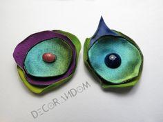 orecchini fiore di stoffa riciclata multicolor con perla di vetro recycled jewelry of8 di decorandom su Etsy