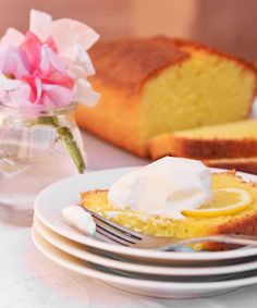 Elderflower Lemon Cake by thekitchn: Lemony sponge cake infused with elderflower syrup and served with a dollop of sweet whipped cream. #Lemon_Cake #Elderflower #thekitchn