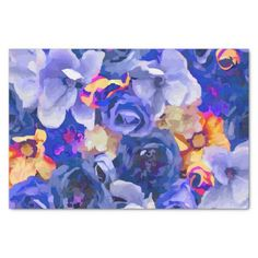 Indigo Gold Watercolor Fine Floral Tissue Paper