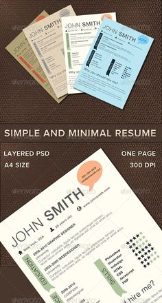 Simple And Minimal Resume - Large, easy to read type. Cool color combos.