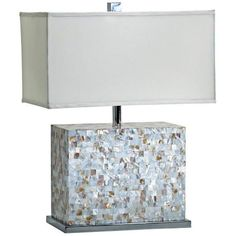 """Shell Tile Mother of Pearl Tile Table Lamp -  Rectangle of glowing tiles does wonderful things with light contr w/ dimmer. Sq shade, polished chrome base. Cyan Design      Mother of pearl tile table lamp.     White and polished chrome finish.     Rectangular white fabric shade.     Dimmer switch.     Takes one maximum 150 watt or equivalent bulb (not included).     25"""" high.     Shade is 13"""" deep, 19"""" wide, and 10 1/4"""" high."""