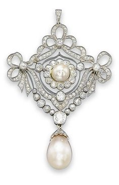 A BELLE EPOQUE PEARL AND DIAMOND BROOCH  The old-cut diamond openwork plaque of garland design centering upon a pearl within a diamond foliate surround, suspending a collet-set old-cut diamond swag, to the diamond capped drop-shaped pearl, circa 1905, 8.2 cm long.
