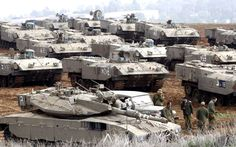 Merkava Mk 2 and a lot of Achzarit armored personal carriers