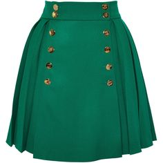 Olympia Le-Tan South Hampstead Skirt ($990) ❤ liked on Polyvore featuring skirts, wool skirt, green pleated skirt, knee length pleated skirt, green skirt and pleated skirt