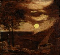 """The Lovers' Boat,"" Albert Pinkham Ryder, ca. 1881, oil on wood, 11 3/8 x 12"", Smithsonian American Art Museum."