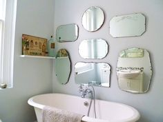 Great Decorating Ideas using Oval White Free Standing Bathtubs and Silver Shower Stalls also with Round Mirrors of Gorgeous Designs With Bathroom Frameless Mirrors and Decoration Ideas round mirrors, small bathroom mirror, large frameless bathroom mirrors, oval bathroom mirrors, framed bathroom mirror, lighted bathroom mirror, cheap bathroom mirrors - lullabycasa