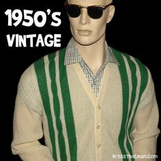 mens vintage retro cardigan s Casual College Outfits, 50s Outfits, Vintage Outfits, Vintage Fashion, Classic Fashion, 1950s Mens Clothing, Mens Retro Shirts, Mens Fashion 2018, Womens Fashion