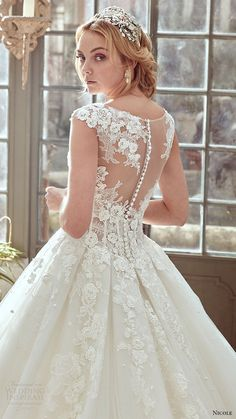 nicole spose bridal 2017 cap sleeve illusion jewel sweetheart ball gown wedding dress (niab17072) zbv illusioon back