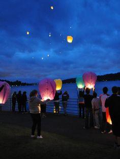 floating lanterns at grad night